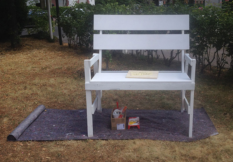 Bench before the beginning of the festival: white foundation to start painting
