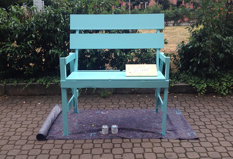 day three: bench painted mint green