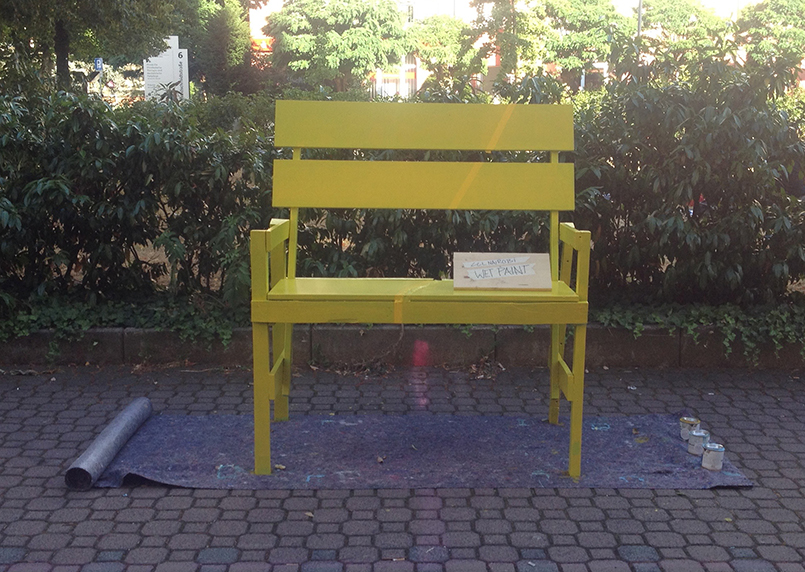 day three: bench painted yellow
