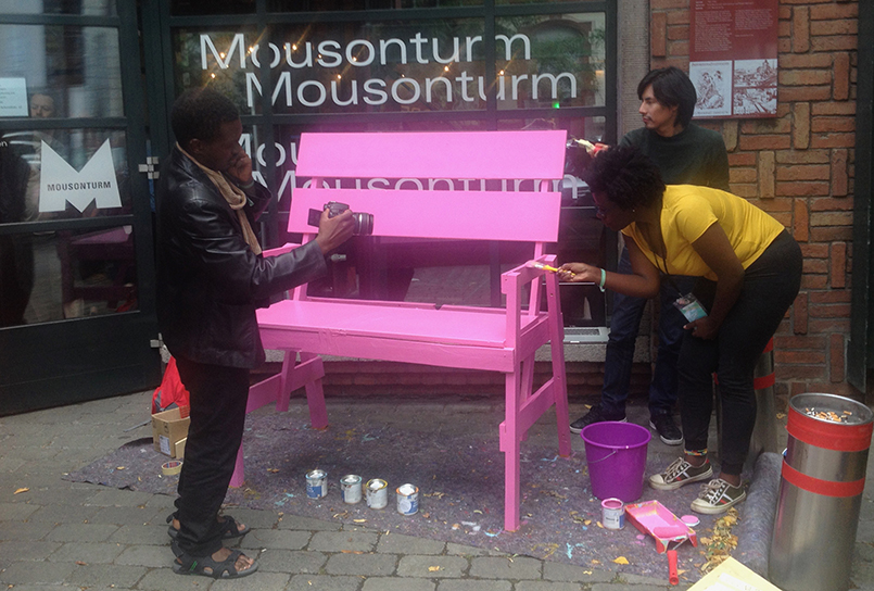 day five: bench being painted pink