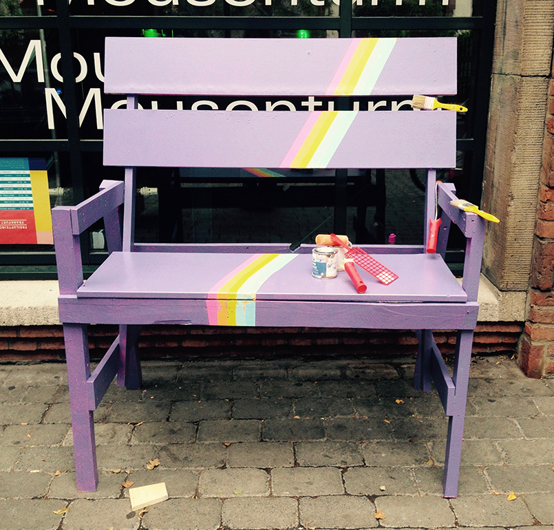 day seven: bench with uncovered rainbow